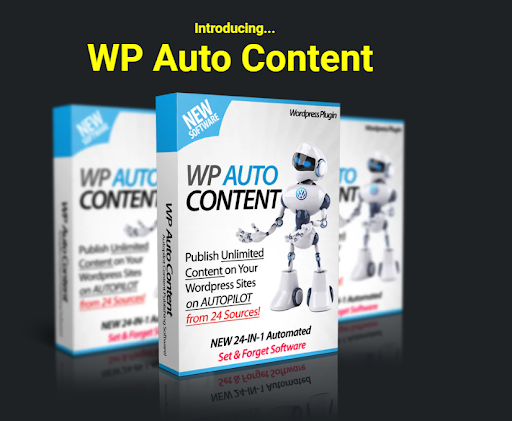 A picture of WP Auto Content Plugin, used for automatic content generation, which is a black hat SEO method.